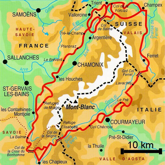 Linker Tour du Mont Blanc